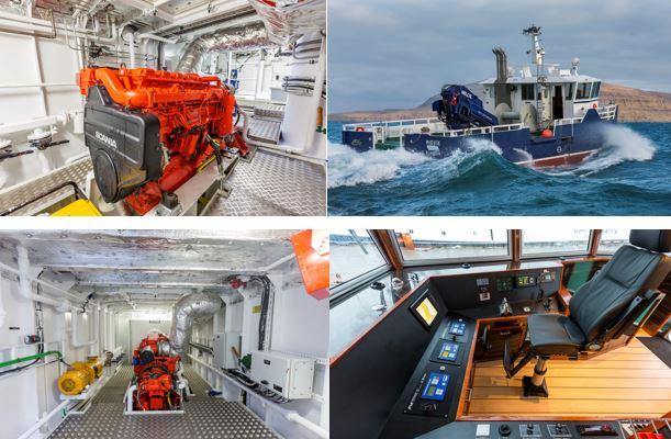 Fremdrivningspakke og generatoranlæg leveret fra Nordhavn A/S til P/F MEST til 2 katamaran arbejdsbåde.
