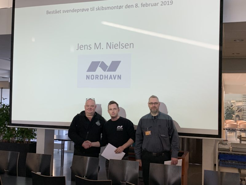 Elev Jens Mann, bestået svendeprøve med et flot 12-tal