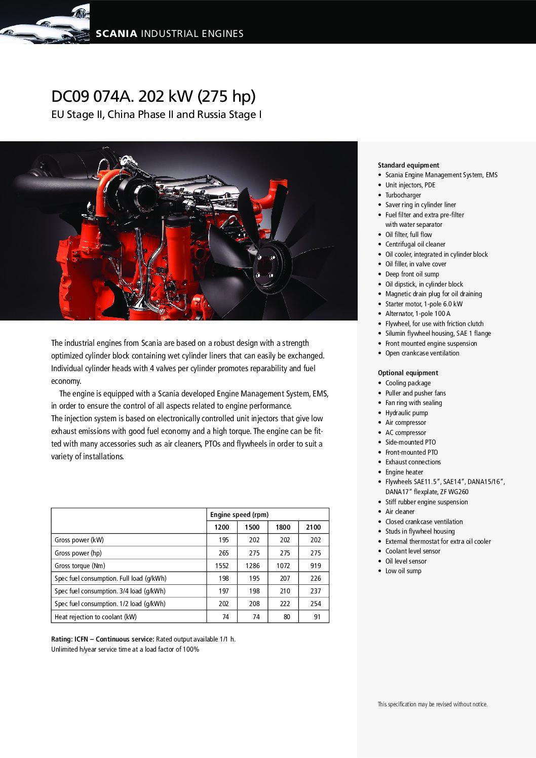 Scania datablad - industri